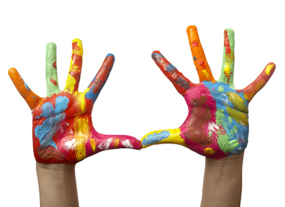image of color painted child hands